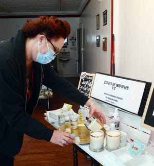 Lisa Chan-Wylie, owner of East Side Quick Cuts, who is selling her Norwich business after only three months opened and moving to Las Vegas for another job sold soap and candles on Esty from her shop during the pandemic. [John Shishmanian/ NorwichBulletin.com]