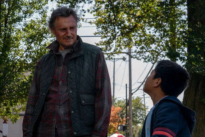 "Liam Neeson stars as 'Jim' and Jacob Perez as 'Miguel,' in director Robert Lorenz's ""The Marksman."""