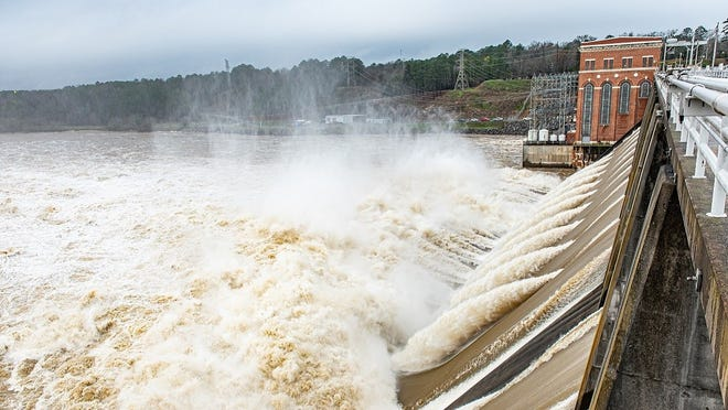 Water is seen roaring through Alabama Power's Lay Dam. Last year was a good one for hydropower in the state thanks to above-average rainfall for most of the state.