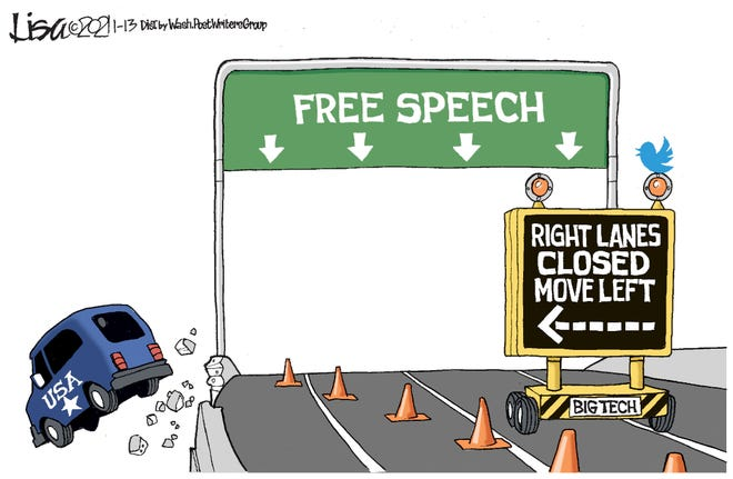Big Tech's curtailing of free speech forces America left ... and over the guardrail.