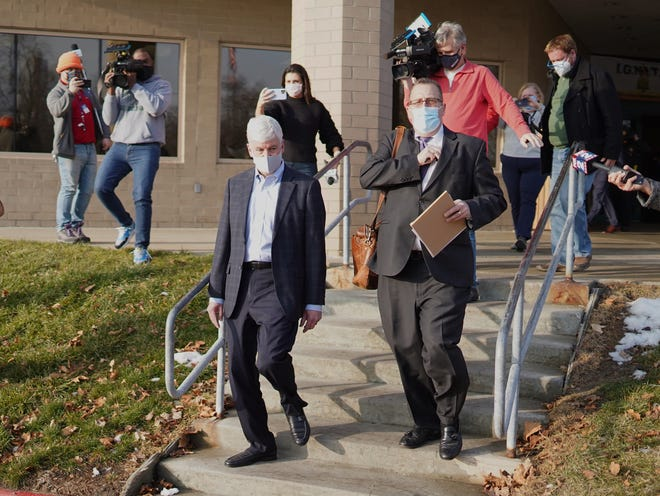 Former Governor Rick Snyder exits after video arraignment at the Genesee County Jail in Flint on January 14, 2021, on new Flint Water Crisis charges.