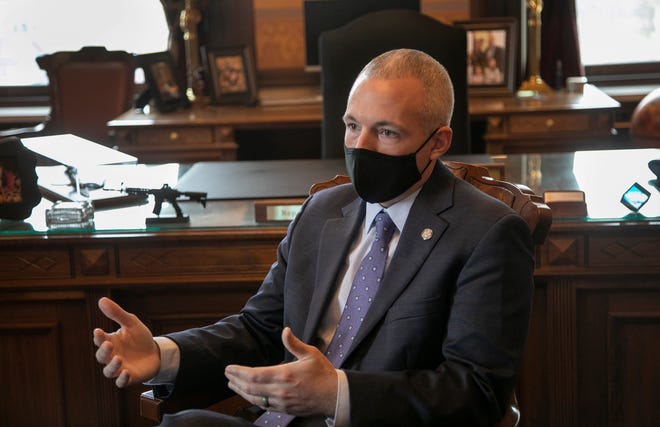 Rep. Jason Wentworth, R-Clare Michigan will be the new speaker of the house. The Free Press interviews Wentworth in his office at the state capitol Monday, Dec. 21, 2020.