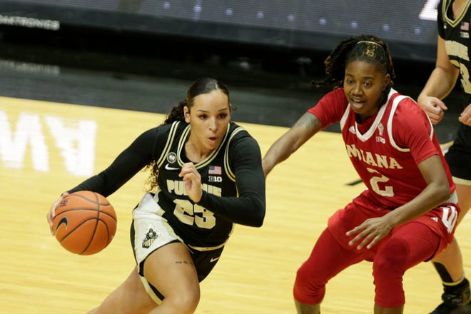 Purdue guard Kayana Traylor (23) dribbles against Indiana guard Keyanna Warthen (2) during the first quarter of an NCAA women's basketball game, Thursday, Jan. 14, 2021 at Mackey Arena in West Lafayette.