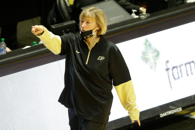 Purdue head coach Sharon Versyp motions at the bench during the fourth quarter of an NCAA women's basketball game, Thursday, Jan. 14, 2021 at Mackey Arena in West Lafayette.