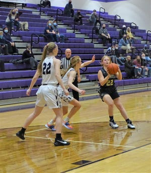 Lancaster freshman Reese Poston gets set to take a shot during the Lady Gales' non-conference at Logan Wednesday night.