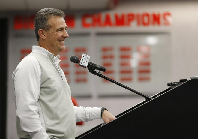 Ohio State head football coach Urban Meyer talks about his 2017 recruiting class during a press conference at the Woody Hayes Athletic Center in Columbus on Feb. 1, 2017.