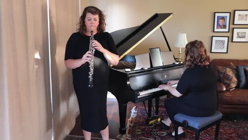 """Katherine Young Steele accompanies herself playing """"Gabriel's Oboe"""" from """"The Mission."""""""