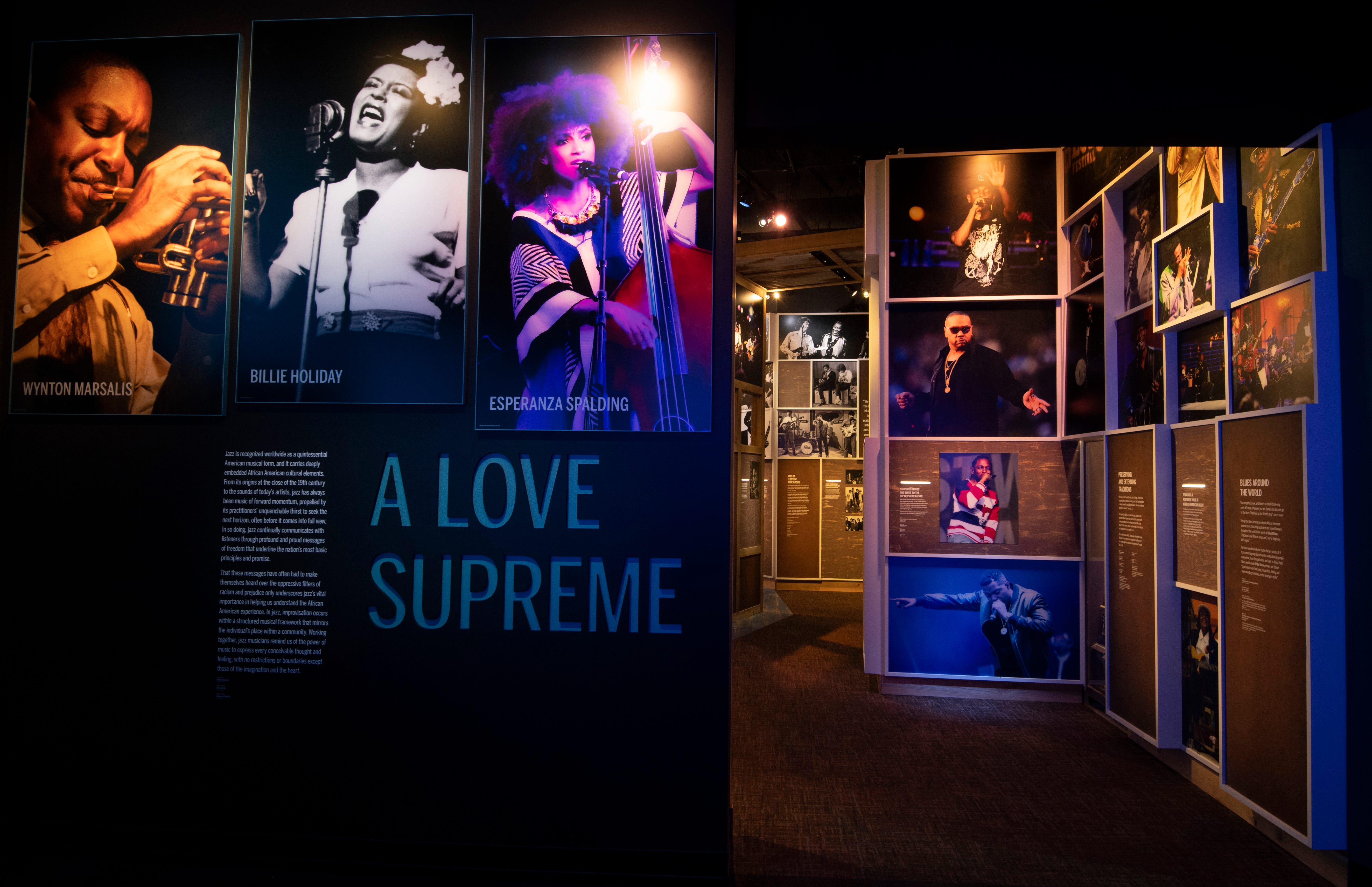 The A Love Supreme gallery celebrates jazz music at the National Museum of African American Music Tuesday, Jan. 12, 2021 in Nashville, Tenn. Visitors will be able to enjoy the museum when it opens to the public in late January.