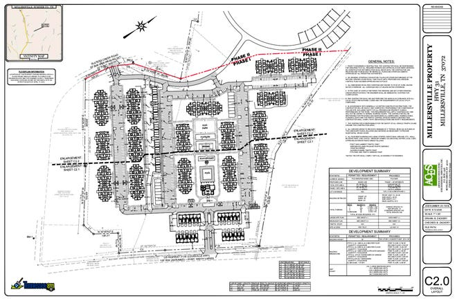 The layout of a future apartment complex approved in Millersville.