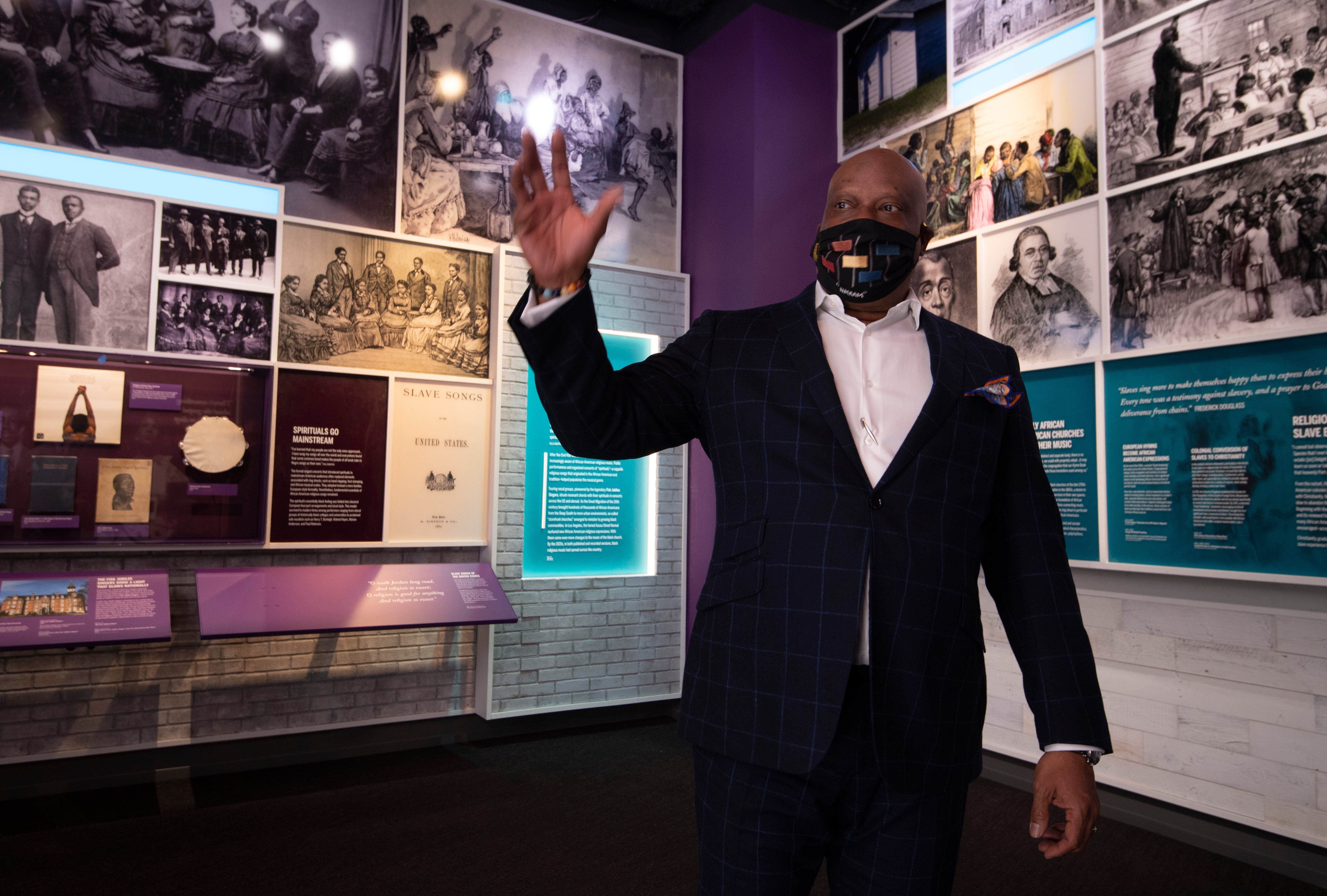 Henry Hicks president and CEO of the National Museum of African American Music guides a media tour through the museum Tuesday, Jan. 12, 2021 in Nashville, Tenn. Visitors will be able to enjoy the museum when it opens to the public in late January.