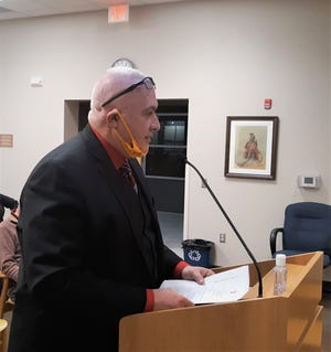Carlsbad Police Chief Shane Skinner addresses the Carlsbad City Council on Jan. 12, 2021 regarding a $200,000 appropriation from the State of New Mexico to purchase new police cars.