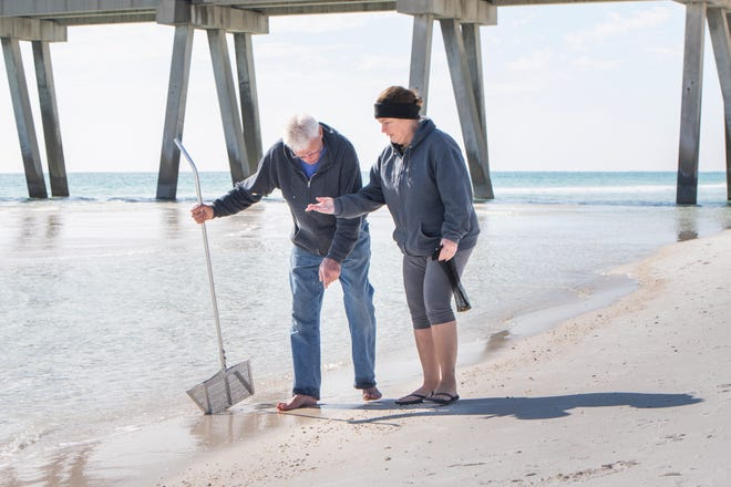 Gary Havel, left, and Linda Richter, of Marissa, Illinois, search for shells along the shore in Navarre Beach on Wednesday.