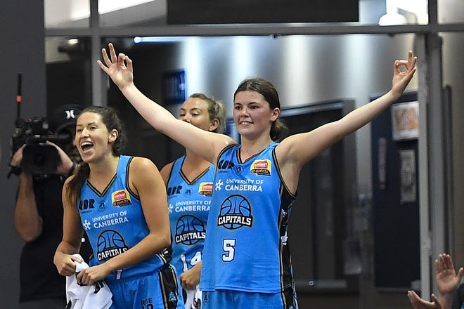 Guard Jade Melbourne (5)  played for the WNBL Canberra Capitals in November and December. She will begin her Arizona State women's basketball career in 2021-22.
