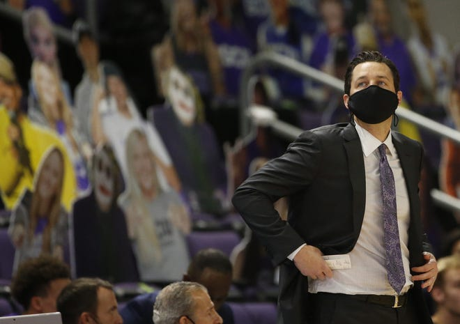 GCU's head coach Bryce Drew looks back after a call against his team during the first half against ASU at Grand Canyon University in Phoenix, Ariz. on Dec. 13, 2020.