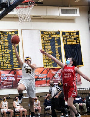 Amanda Smith goes up for two of her team-high 16 points in Elco's 52-34 win vs. Fleetwood Wednesday night.