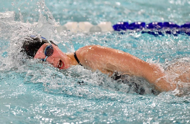 Dallastown's Samantha Trumble wins the girls 50-yard freestyle event at 25.83 during swimming action against Spring Grove at Dallastown Area High School in York Township, Thursday, Jan. 14, 2021. Dawn J. Sagert photo