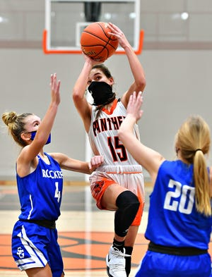 Central York's Georgia Panopoulos, seen here at center in a file photo, led the Panthers on Tuesday night with 16 points in a win over Red Lion.