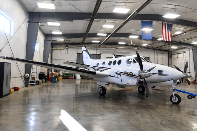 A plane in the state fleet stand in the hangar on Monday, January 11, at the Pierre Regional Airport.