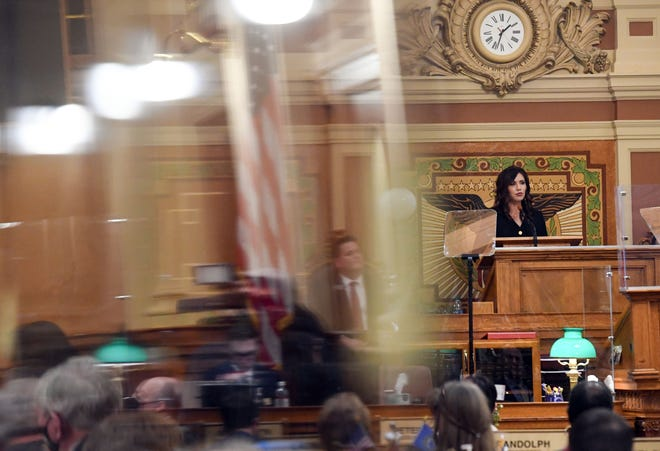 Governor Kristi Noem gives the State of the State address on Tuesday, January 12, in the House of Representatives at the South Dakota State Capitol in Pierre.