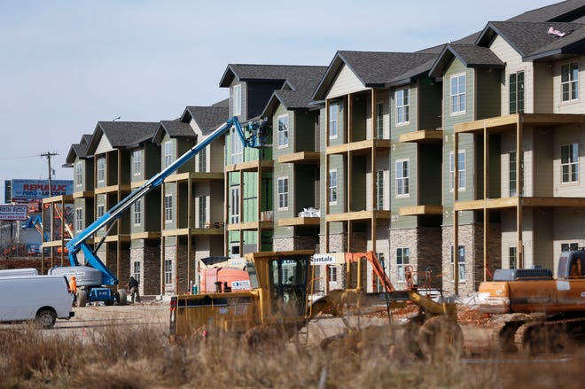 A new apartment building under construction in Republic on Wednesday, Jan. 13, 2021.