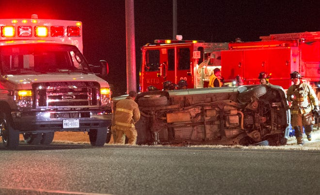 Wichita Falls emergency responders worked the scene of a rollover accident Wednesday night on Central Freeway.