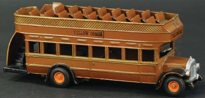 This Yellow Coach bus made by Arcade is 13 inches long and in great condition. It sold for $600 at Bertoia Auctions in 2020.
