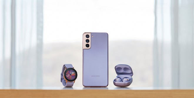 The Samsung Galaxy smartwatch, shown here with the Galaxy S21+ smartphone and Galaxy Buds Pro ($199.99).