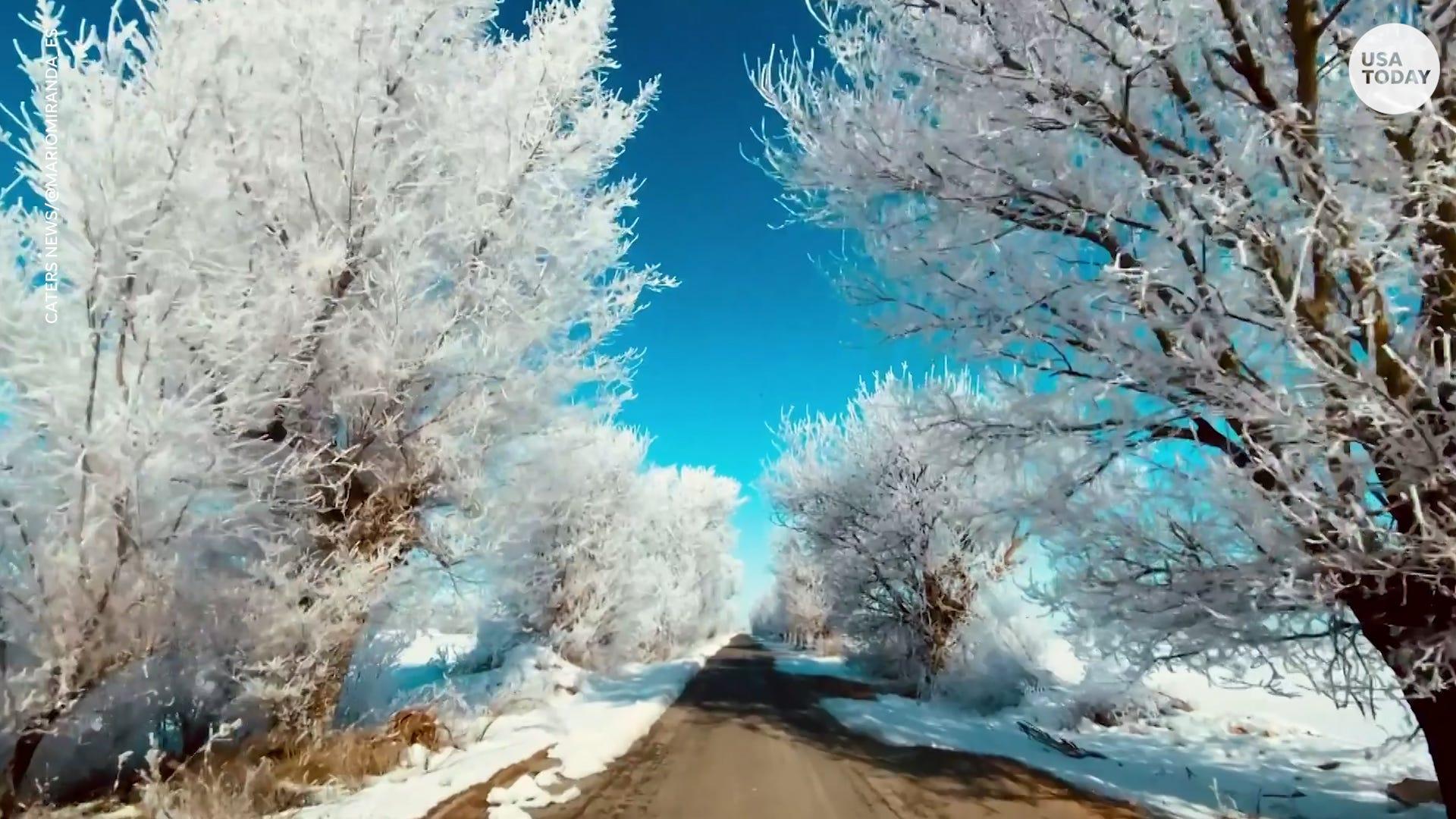 Snow and ice create beautiful winter wonderland in Spain
