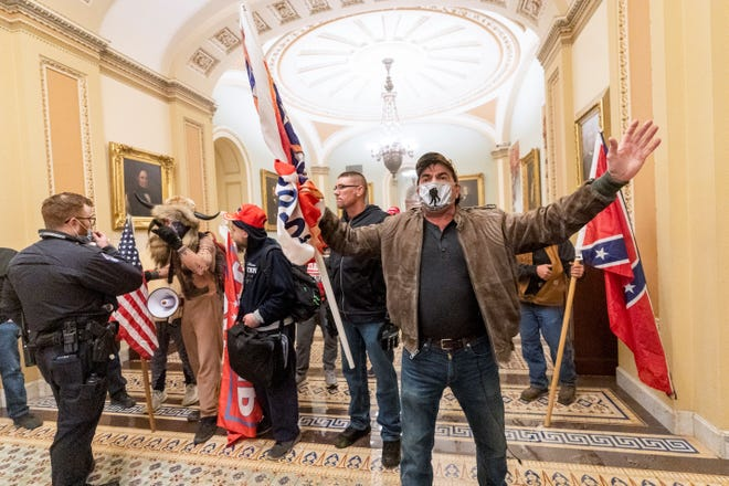 Rioters on Jan. 6, 2021, in the U.S. Capitol in Washington, D.C.