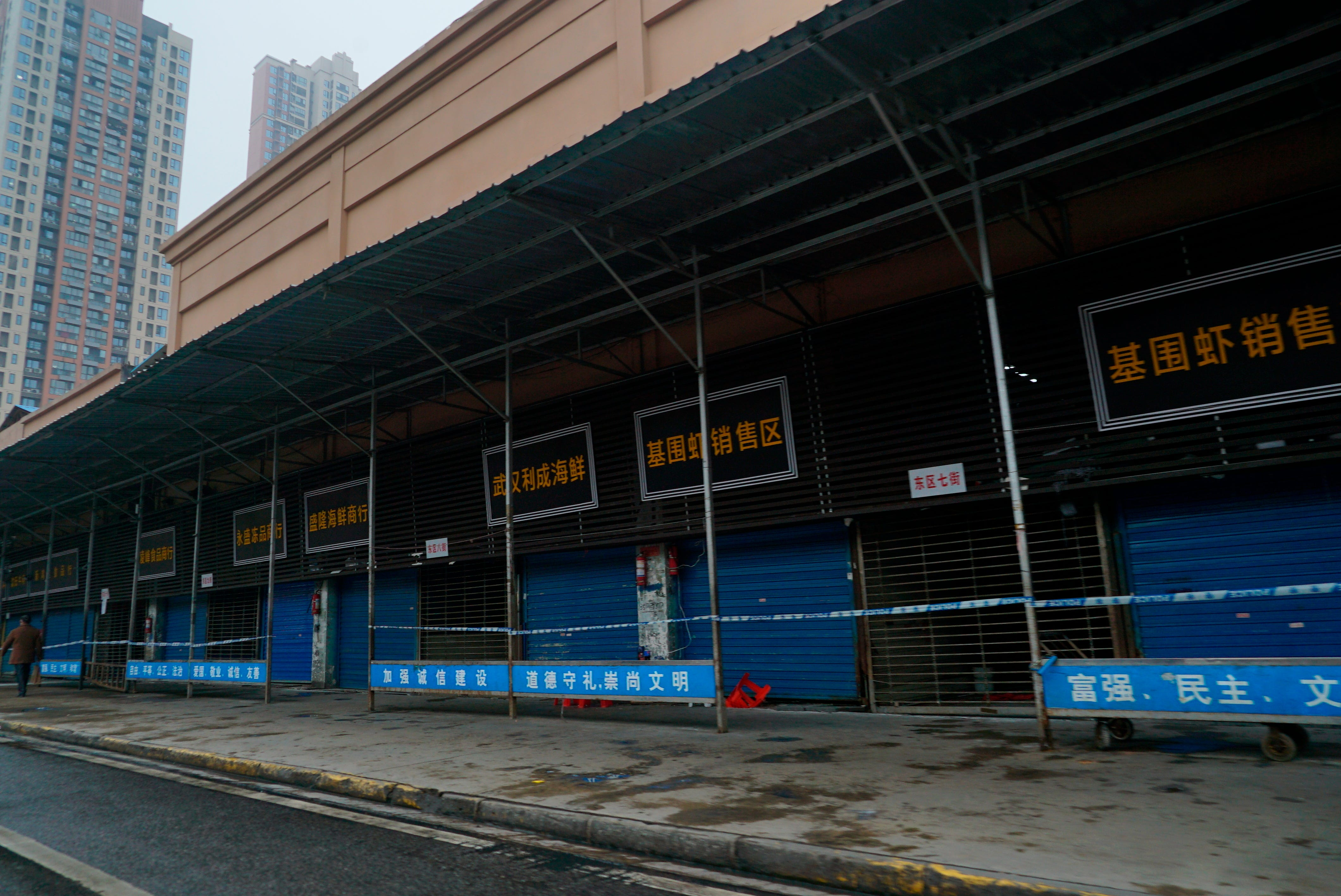 The Wuhan Huanan Wholesale Seafood Market, where people got infected with a virus, was closed in January 2020.