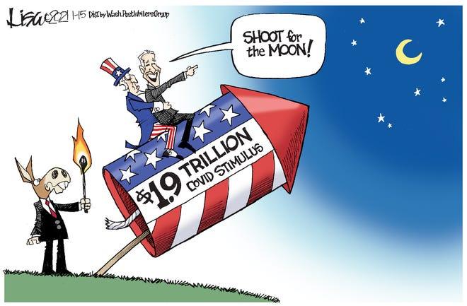 Editorial cartoon, Jan. 17, 2021: Shoot for the moon