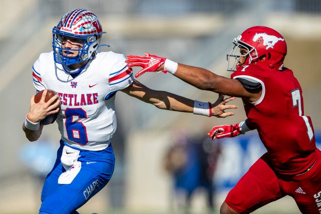 Westlake quarterback Cade Klubnik runs for extra yardage in last week's win over Galena Park North Shore. Ranked as the state's No. 2 quarterback in his class, Klubnik leads the Chaps into Saturday's Class 6A Division I title game against Southlake Carroll and No. 1 quarterback recruit Quinn Ewers.