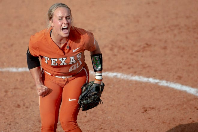 Texas pitcher Miranda Elish (40) celebrates a strikeout against Sam Houston State in May of 2019 in Austin.