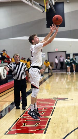 Sam Skaar fires off one of his school-record 11 3-pointers for Roland-Story against Saydel Jan. 12 in Story City. Skaar scored 40 points to help the Norsemen stay unbeaten with a 65-32 win.