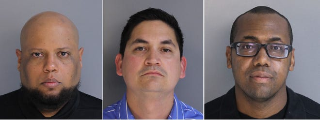 Hilario Fuentes-Rosario, from left, Thomas Caffrey Jr. and Rodney K. Robinson Jr. were arrested Friday morning.
