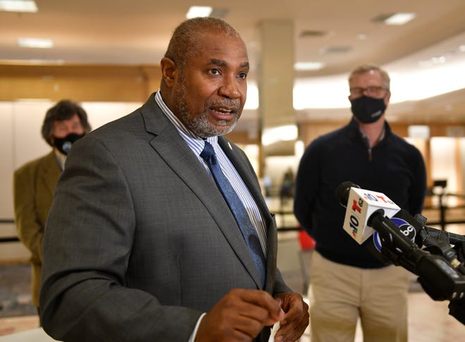Director of Burlington County Health Department Dr. Herbert Conaway speaks during a press conference at the COVID-19 vaccination mega-site inside the Moorestown Mall on Friday, Jan. 15, 2020.