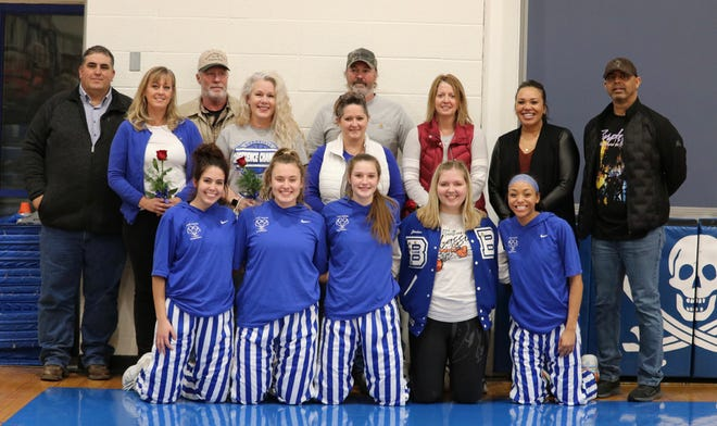 Five senior members of the Boonville Lady Pirates basketball team was honored along with their parents during Senior Parents Night Thursday night during halftime of the Versailles game.