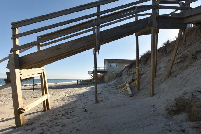 Homes along Salt Marsh Road in Sandwich were damaged in a mid-December storm. The Army Corps of Engineers ismoving forward with plan to move 338,000 cubic yards of sand from Scusset Beach to help replenish Town Neck Beach.