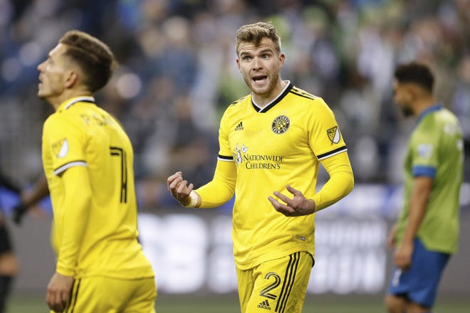 Chris Cadden (2), seen here in a March 2020 game at Seattle Sounders, is returning to Scotland after one year with the Crew.