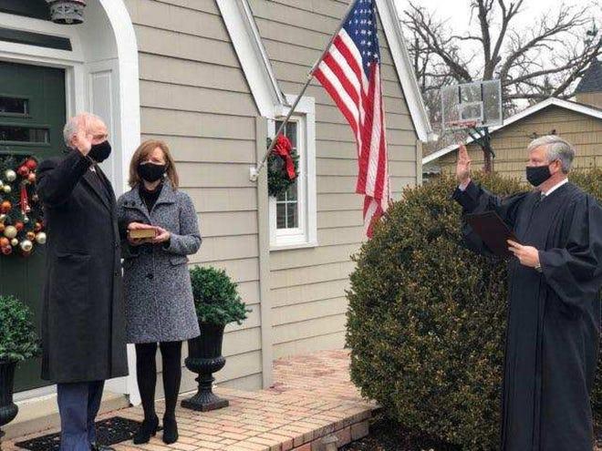 Sen. Matt Huffman, R-Lima, being sworn in as Ohio's Senate President outside his home on January 6, 2021.