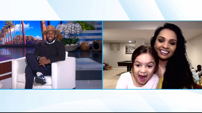 """Sonja Parcell and her 4-year-old daughter, JoLee, of Dublin, Ohio, appear on """"The Ellen DeGeneres Show"""" guest-hosted by Stephen """"tWitch"""" Boss. JoLee recently went viral for a video highlighting her resemblance to Vice President-elect Kamala Harris."""