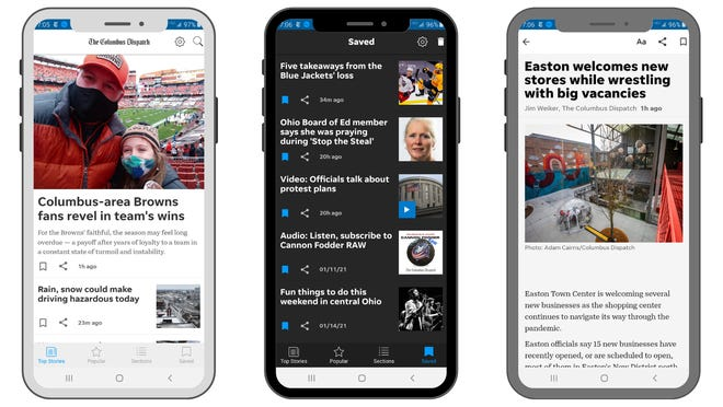 Views of The Dispatch's redesigned mobile app, with many new features to take advantage of