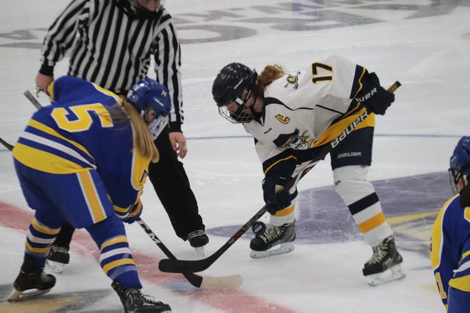 Nora Peterson and Shelby Breiland take a face-off in Jan. 14's game between Crookston and Thief River Falls. Peterson and Breiland combined for all four goals in the team's third matchup, a 3-1 win for the Prowlers in Thief River Falls Tuesday.