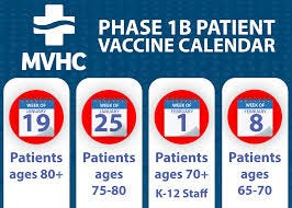 Muskingum Valley Health Centers distribution calendar for COVID-19 vaccines.