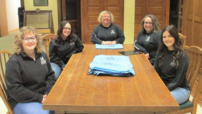 """Members of the Holmes County Chamber of Commerce and Tourism Bureau staff are Lauren Schrock (left), Samantha Whitworth, Executive Director Tiffany Gerber, Shannon Carter and Logan Black. """"Tourism is it's own animal,"""" says Gerber, noting the organization plans to invest in an impact study to get a grasp on how much money it brings into the county, and the number of visitors."""