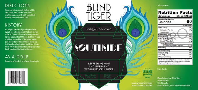 Mock-up label for Southside, one of Blind Tiger Spirit-Free Cocktails, a new business venture by the owners of Room 33 Speakeasy. Rebecca Styn and her husband and co-owner Rob Marht won a new-business prize of $50,000 Thursday.