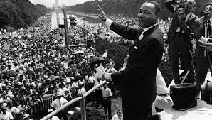Martin Luther King delivers his 'I have a dream' speech in Washington.