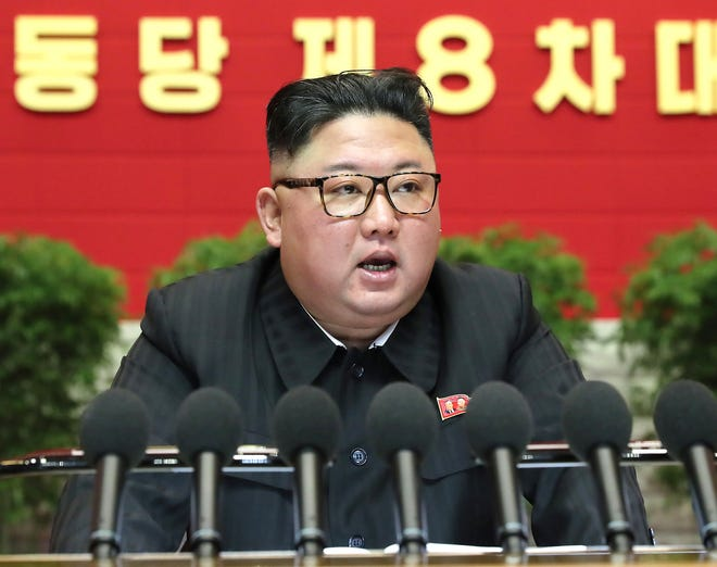 On Jan. 9, 2021, in Pyongyang, North Korea, Kim Jong Un, leader of the Democratic People's Republic of Korea, speaks during the eighth Congress of the Workers' Party of Korea.