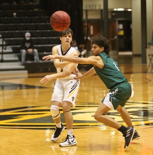 FHSU's Kaleb Hammeke passes off the ball during the Tigers' 64-51 loss to Northwest Missouri State on Thursday at Gross Memorial Coliseum.