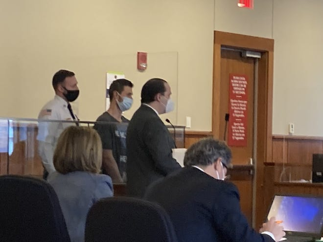 Westport resident Stephen Kegyes in custody without bail appears in Fall River District Court on Friday with defense attorney Will Flanagan